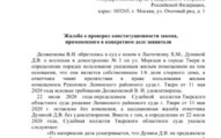 Пример (образец) жалобы в Конституционный суд РФ