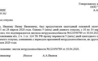 Заявление на перенос отпуска в связи с декретом образец