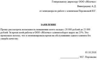 Заявление на увеличение заработной платы кладовщика